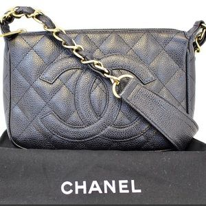 Authentic Chanel black bag caviar GHW timeless